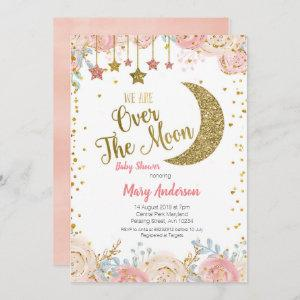 Pink Peach Gold Moon Baby Shower for girl