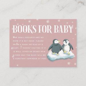Pink Penguins Winter Baby Shower Book Request Enclosure Card
