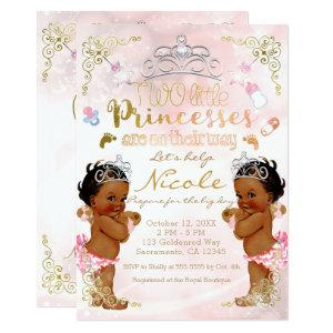 Pink Princess Ethnic Dark Twin Girls Baby Shower Invitation