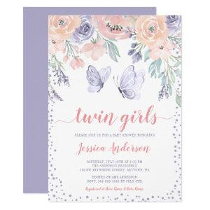 Pink Purple Floral Butterfly Twin Girl Baby Shower Invitation