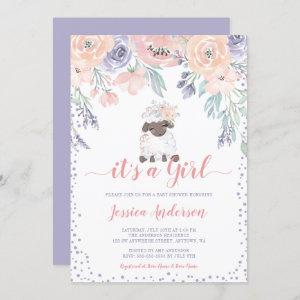 Pink Purple Floral Lamb Girl Baby Shower Invitation