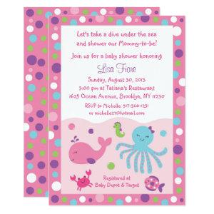 Pink & Purple Under the Sea Baby Shower Invitation