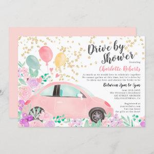 Pink purple watercolor car bridal drive by shower invitation