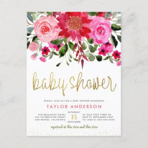 Pink & Red Flowers Eucalyptus Greenery Baby Shower Invitation Postcard