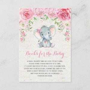 Pink Roses Baby Elephant Bring a Book Insert Card