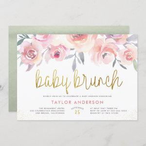 Pink Roses & Greenery Gold Baby Brunch Baby Shower Invitation