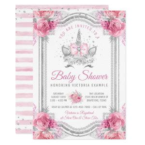Pink Silver Diamond Unicorn Baby Shower Invitation