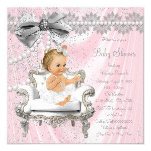 Pink Silver Pearl Chair Girl Baby Shower Invitation