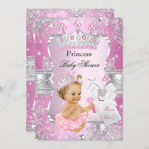 Pink Silver Princess Baby Shower Blonde Girl Invitation