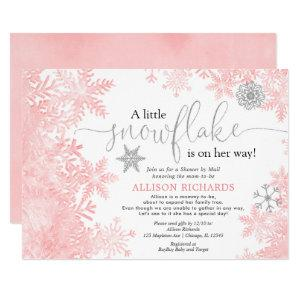 Pink silver snowflake Shower by Mail baby shower Invitation