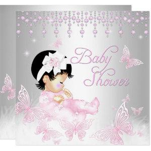 Pink Silver Sprinkle Butterfly Baby Shower Invitation