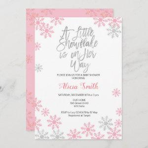 Pink Silver Winter Wonderland Girl Baby Shower Invitation