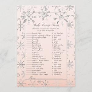 Pink Snowflake Baby Candy Baby Shower Game Invitation