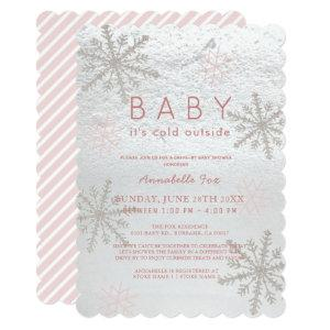 Pink Snowflake Baby Its Cold Drive-by Baby Shower Invitation
