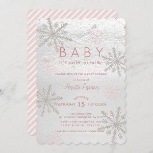 Pink Snowflake Baby Its Cold Outside Baby Shower