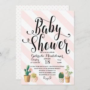 Pink Stripes Love Grows Sweet Cactus Baby Shower Invitation