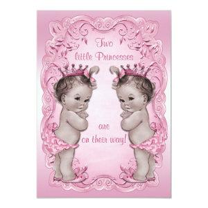Pink Vintage Princess Twins Baby Shower Invitation