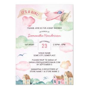 Pink Watercolor Airplane Girl's Baby Shower Invitation