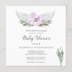 Pink Watercolor Florals Angel Wings Baby Shower