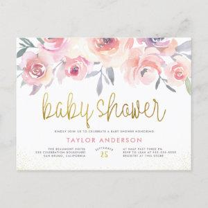 Pink Watercolor Roses Chic Gold Script Baby Shower Invitation Postcard