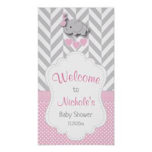 Pink, White & Gray Elephant Baby Shower Welcome Poster