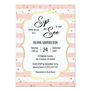 Pink White Stripes Gold Black BABY SIP and SEE Invitation