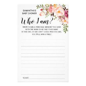 Pink Who I am Baby shower bilingual game card