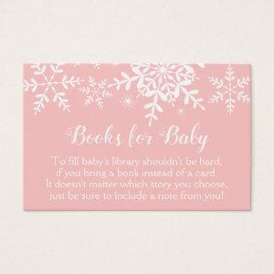 Pink Winter Baby Shower Snowflakes Bring a Book