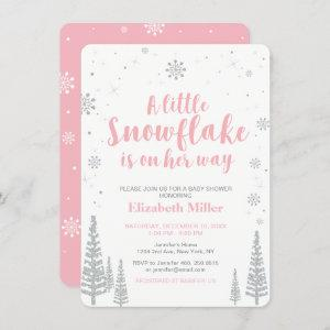 Pink Winter Wonderland, Girl Baby Shower, 4.5x6.25 Invitation