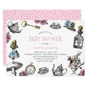 Pink Wonderland Baby Shower with Polka Dots Invitation