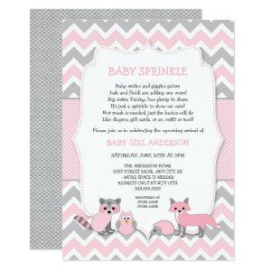 Pink woodland animal baby sprinkle, baby shower invitation
