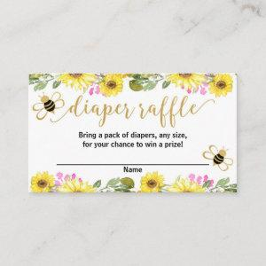 Pink yellow flowers bumble bee diaper raffle cards