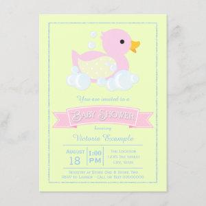 Pink Yellow Girls Pink Rubber Duck Baby Shower