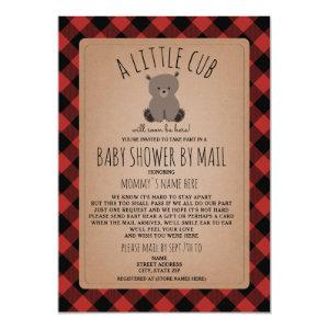 Plaid Baby Shower By Mail Social Distancing Bear Invitation