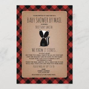 Plaid Baby Shower By Mail Social Distancing Skunk Invitation