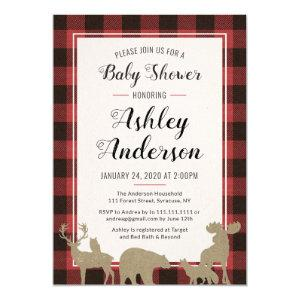 Plaid Woodland Animals Baby Shower Invitation