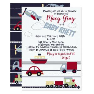 Planes, Trains, and Cars Baby Shower Invitation