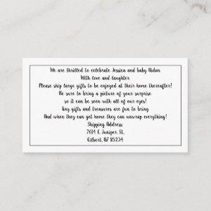 Please Ship Gifts for Baby Shower Enclosure Cards
