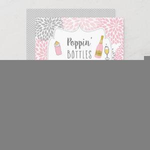 Poppin' Bottles Pink Gray Floral Baby Shower Invitation