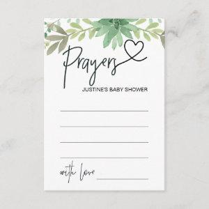 Prayers For Baby Shower Wish Card Green Succulents