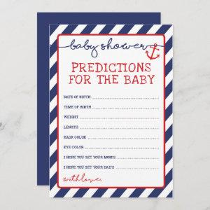Predictions for Baby Boy Nautical Shower Game Invitation