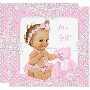 Pretty Baby Shower Girl Lace Pink Bear Blonde Baby Invitation