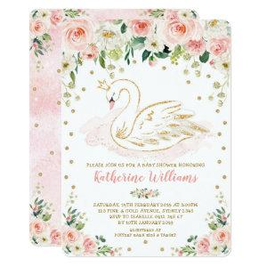 Pretty Blush Floral Swan Princess Girl Baby Shower Invitation