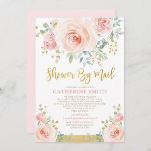 Pretty Blush Pink Floral Girl Baby Shower By Mail Invitation