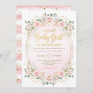 Pretty Blush Pink Gold Floral Baby Girl Shower Invitation