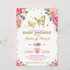 Pretty Butterfly Watercolor Floral Baby Shower Invitation