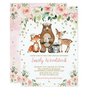 Pretty Floral Woodland Animals Baby Girl Shower Invitation