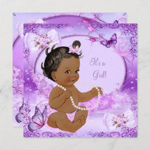 Pretty Girl Baby Shower Purple Butterfly Ethnic Invitation