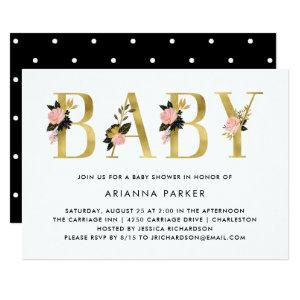 Pretty Gold Floral Text with Black | Baby Shower Invitation