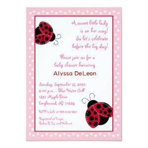 Pretty in Pink Ladybug Baby Shower Invitations